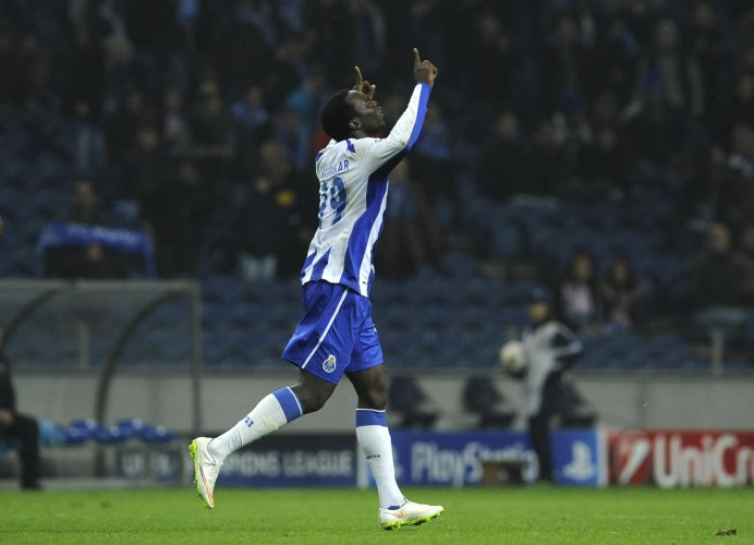 FC Porto Vincent Aboubakar, from Cameroon celebrates his goal against Shakhtar Donetsk during the Champions League Group H soccer match between FC Porto...