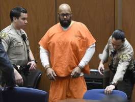"FILE - In this March 9, 2015 file photo, Marion ""Suge"" Knight, center, arrives in court for a hearing about evidence in his murder case, in Los Angeles...."