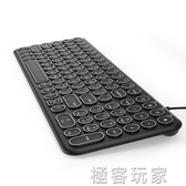 BOW航世靜音有線巧克力鍵盤 復古朋克圓鍵帽筆記本台式機電腦外接超薄usb家用 ATF極客玩家