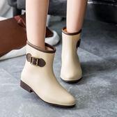 全館免運女款雨鞋女士中筒時尚女式雨靴防滑水鞋短筒膠鞋成人水靴套鞋【全館鉅惠85折】
