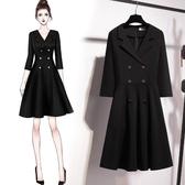 (交換禮物)洋裝小黑裙女2019款 通勤ol氣質黑色雙排扣西裝領a字連身裙