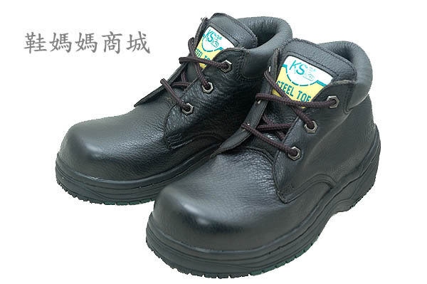 【鞋媽媽】[女]全新真皮防滑*KS黑色3孔短靴*鋼頭鞋*工作鞋*ks026