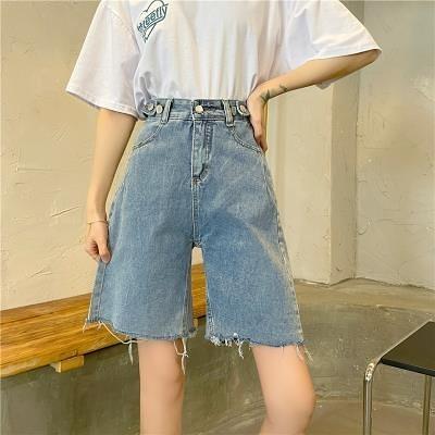 五分褲高腰褲4A910牛仔短褲女學生百搭顯瘦五分短褲顯高短褲子MB023.胖丫