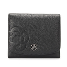 CLATHAS山茶花壓印荔枝紋軟皮壓釦零錢袋短夾(黑色)200121-10