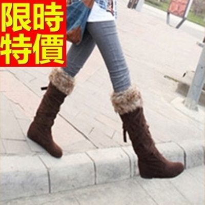 雪靴-加絨保暖高筒平底女長靴3色64aa27[巴黎精品]