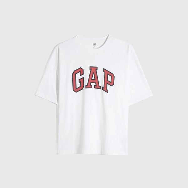 Gap男裝 Logo純棉圓領短袖T恤 688537-白色