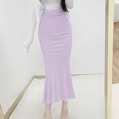 包臀裙韓國東大門超有女人味~顯瘦高腰包臀魚尾半身裙seN503紅粉佳人