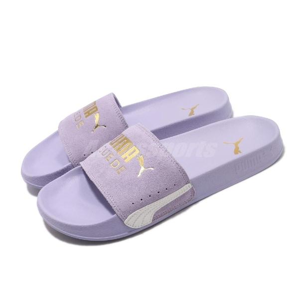 Puma 拖鞋 Leadcat FTR Suede Classic 紫 金 女鞋 麂皮鞋面 涼拖鞋 【ACS】 37227702