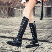 膝上靴過膝靴 妙侶秋冬新款平跟機車圓頭側拉鏈長靴女平底復古顯瘦腿高筒靴艾维朵 全館免運