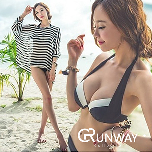 【R】韓國 夏日 游泳 溫泉 玩水 潛水 比基尼 泳衣 泳裝 大罩杯 分體 鋼托 三件套