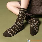 羊毛襪子女中筒襪加厚加絨長襪保暖字母堆堆襪【公主日記】