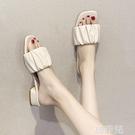 粗跟拖鞋 女士拖鞋外穿時尚網紅中跟一字拖新款夏季百搭粗跟涼拖ins潮 星河光年
