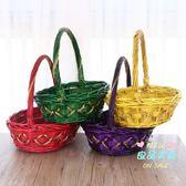 野餐籃子 水果籃手提籃蔬菜籃子藤編舞蹈籃禮品籃包裝雞蛋籃竹籃野餐籃小籃T 4色