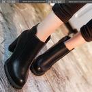 短靴 百搭英倫風粗跟高跟馬丁靴 DK STORE