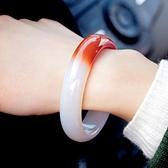 手鐲 天然正品瑪瑙玉鐲半白半紅瑪瑙玉手鐲女款白瑪瑙玉鐲子 風馳