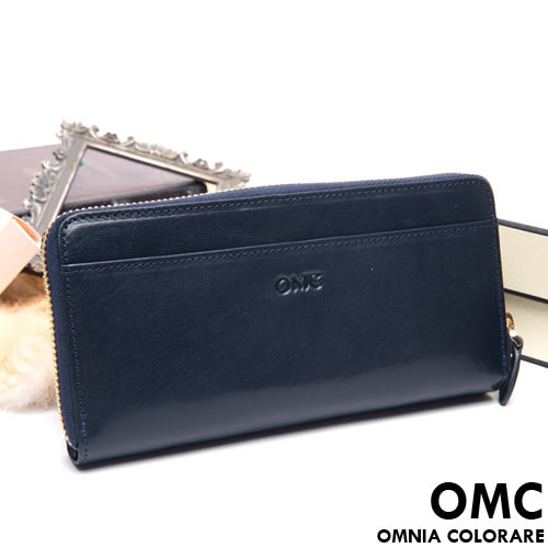 OMC - 原皮魅力系列舌扣多卡零錢包二折式長夾 - 星辰藍