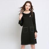 中大尺碼~圓領收腰長袖連衣裙(L~5XL)