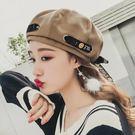 帽子韓版百搭時尚軟妹貝雷帽女南瓜帽可愛日繫蓓蕾帽  傑克型男館