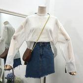 圓領套頭薄款透氣舒適長袖上衣寬松純色百搭韓版鏤空T恤女潮
