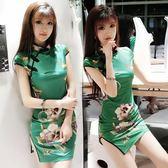 日常少女年輕款旗袍氣質優雅印花性感緊身包臀開叉短款旗袍洋裝   伊衫風尚
