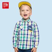 JJLKIDS 男童 法國男孩格子純棉襯衫(綠色)