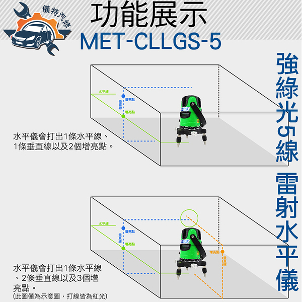 《儀特汽修》MET-CLLGS-5強綠光 五線雷射  附腳架  雷射 水平儀 交直流兩用
