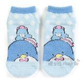 〔小禮堂〕山姆企鵝 成人保暖襪《藍.點點.大臉》23-25cm.短襪.絨毛襪 4901610-76160