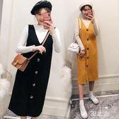 中大尺碼兩件式洋裝 兩件套裝女秋冬長袖針織T恤衫V領背心連身裙 nm17836【野之旅】