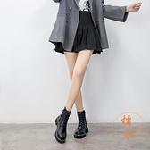 馬丁靴女秋冬百搭加絨顯瘦短靴防水氣質棉鞋【橘社小鎮】
