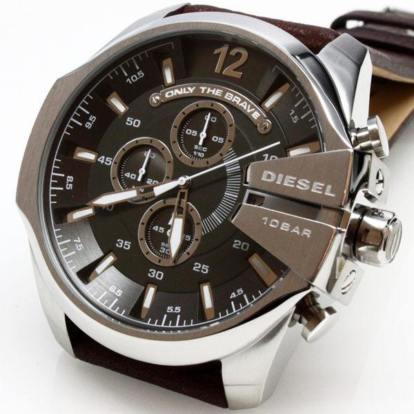【萬年鐘錶】DIESEL 潮牌 霸氣 三眼 計時碼錶 日期顯示 黑錶面 銀殼 咖啡厚皮帶 超大錶徑 DZ4290
