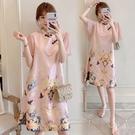 M-4XL洋裝~韓版大碼飛飛袖甜美胖妹妹改良旗袍連身裙8032 3F072-B胖妞衣櫥