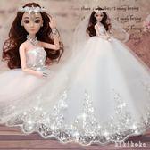 芭比娃娃 女孩公主單個換裝套裝柔軟會說話婚紗純白婚紗娃娃 DR1251 【KIKIKOKO】