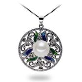 珍珠項鍊 925純銀吊墜-11mm鑲鑽圓牌雕花生日情人節禮物女飾品73lx37【時尚巴黎】