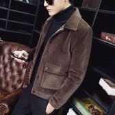 冬季新款時尚翻領大口袋外套男修身個性絨料短款加厚西裝領夾克潮