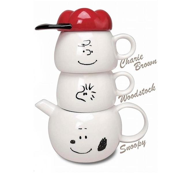 【南紡購物中心】日本MARIMO CRAFT史努比陶瓷泡茶壼茶杯組Tea for two史奴比水壼水杯子SPY-386