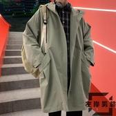風衣外套男秋季韓版連帽工裝夾克中長款過膝寬鬆大衣【左岸男裝】