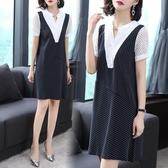 洋裝 蕾絲拼接條紋連身裙假兩件大碼裙子 降價兩天