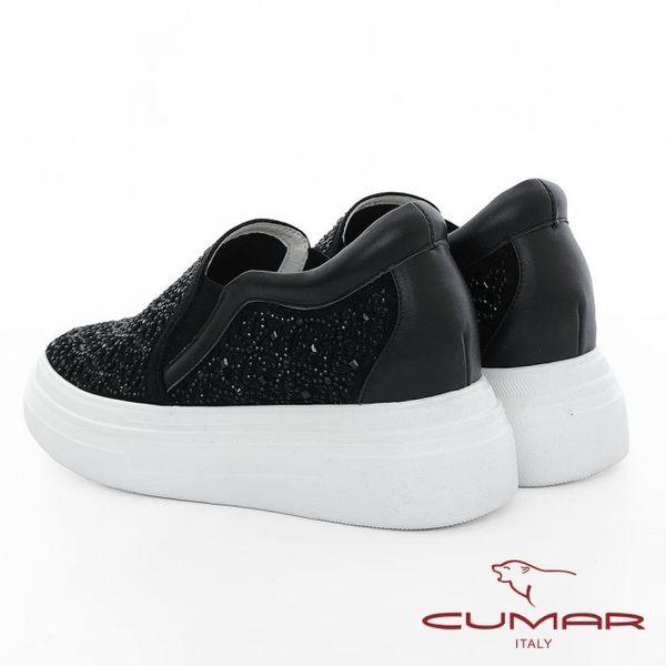 【CUMAR】悠遊輕井澤 - 網眼鏤空雷射花朵鑽飾厚底懶人休閒鞋(黑)