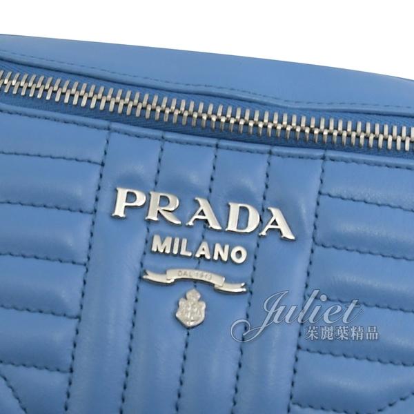 茱麗葉精品【全新現貨】PRADA 1BL006 浮雕LOGO牛皮三用腰包.藍