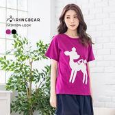 圖案短T--可愛森林系LOVE小鹿印圖氣質圓領短袖上衣(黑.紫XL-5L)-T273眼圈熊中大尺碼