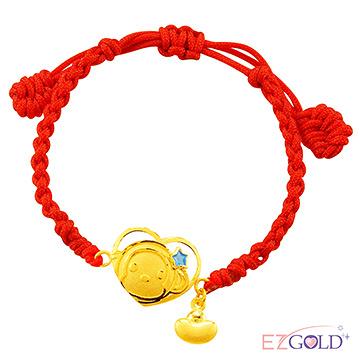 甜蜜約定金飾-金喜心小猴(藍)-黃金編織手鍊(兒童配戴)