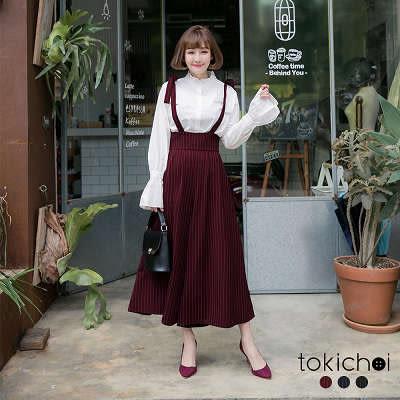東京著衣-多色復古條紋綁帶吊帶寬褲-S.M(172808)