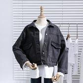 春秋新款韓版寬鬆顯瘦煙灰色牛仔外套女學生短款百搭上衣夾克 「爆米花」