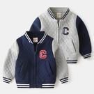 *╮小衣衫S13╭*小男童貼標棒球服厚棉長袖外套1081201