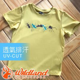 【Wildland 荒野 中童 椰碳印花排汗衣 黃】71670-40/兒童短袖/排汗衣★滿額送