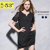加大尺碼--OL都會風格拼接雪紡紗袖設計長上衣/洋裝(黑.藍XL-5L)-D412眼圈熊中大尺碼◎