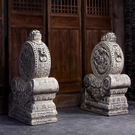 仿古做舊抱鼓石仿石雕別墅庭院門墩石鼓中式擺件 叮噹百貨