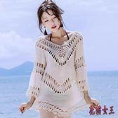 比基尼罩衫 沙灘度假鏤空套頭蕾絲衫性感中長款防曬衣女薄外套IP3370【花貓女王】