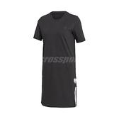 adidas 連身裙 Adicolor 3D Trefoil Tee Dress 黑 白 女款 洋裝 長版 運動休閒 【ACS】 GM6766