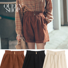 Queen Shop【04130079】高腰雙釦設計燈芯絨短褲 三色售 S/M*現+預*